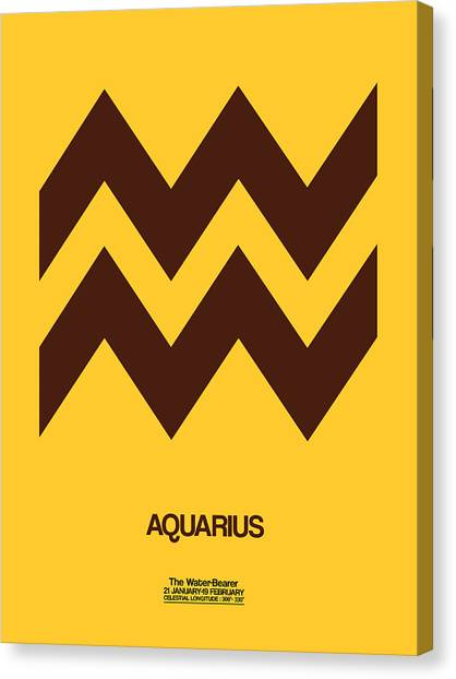 Canvas Print - Aquarius Zodiac Sign Brown by Naxart Studio