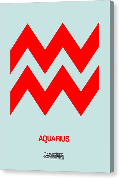 Canvas Print - Aquarius Zodiac Sign Red by Naxart Studio