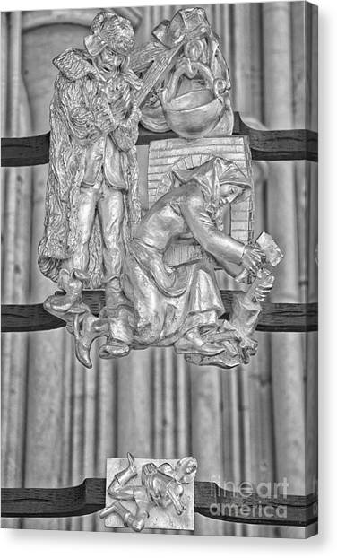 Uranus Canvas Print - Aquarius Zodiac Sign - St Vitus Cathedral - Prague - Black And White by Ian Monk