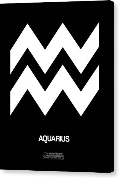 Canvas Print - Aquarius Zodiac Sign White by Naxart Studio