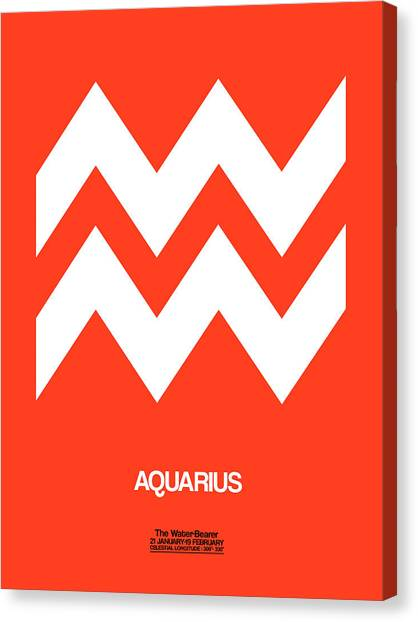 Canvas Print - Aquarius Zodiac Sign White On Orange by Naxart Studio
