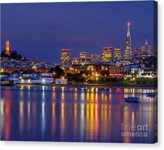 Canvas Print featuring the photograph Aquatic Park Blue Hour by Kate Brown