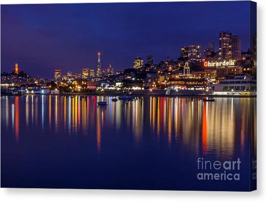Canvas Print featuring the photograph Aquatic Park Blue Hour Wide View by Kate Brown