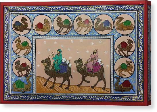 Arab Men In Desert Canvas Print