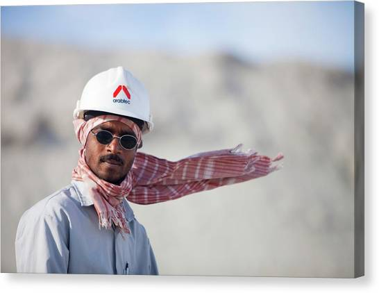 Hard Hat Canvas Print - Arab Workers Working by Ashley Cooper