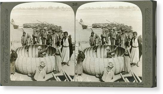 Baghdad Canvas Print - Arabs Building A Kufa by Underwood Archives