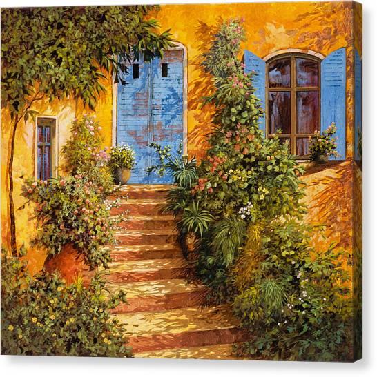 Blue Doors Canvas Print - Arancio Caldo by Guido Borelli