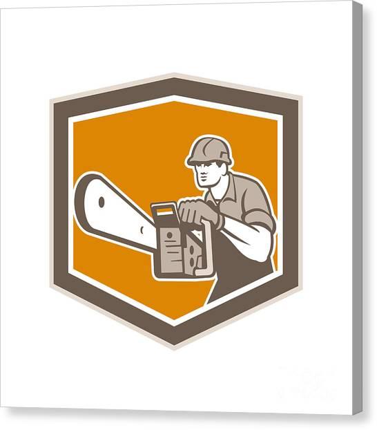 Chainsaw Canvas Print - Arborist Lumberjack Operating Chainsaw Shield by Aloysius Patrimonio
