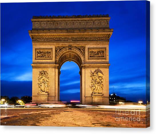 Arc De Triomphe At Night Paris France  Canvas Print