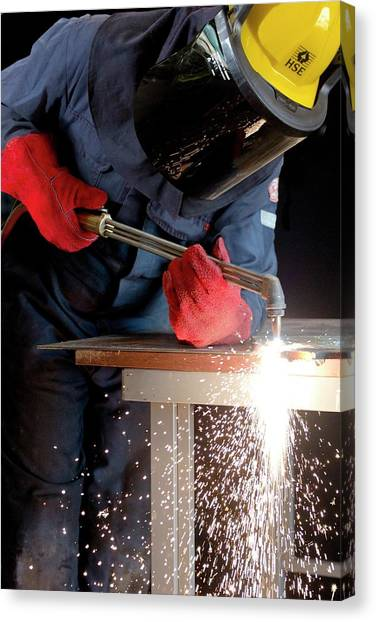 Protective Clothing Canvas Print - Arc Welder At Work by Crown Copyright/health & Safety Laboratory Science Photo Library