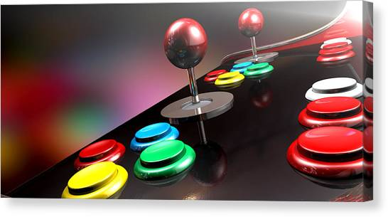 Gaming Consoles Canvas Print - Arcade Control Panel With Joystick And Buttons by Allan Swart