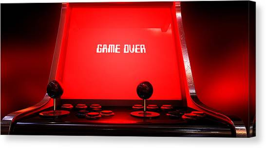Gaming Consoles Canvas Print - Arcade Game Game Over by Allan Swart