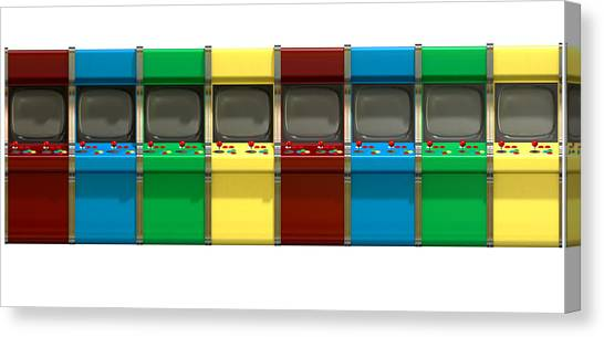 Gaming Consoles Canvas Print - Arcade Game Line by Allan Swart