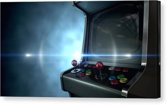 Gaming Consoles Canvas Print - Arcade Machine Dramatic View by Allan Swart