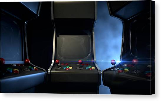 Gaming Consoles Canvas Print - Arcade Machine Group Huddle by Allan Swart