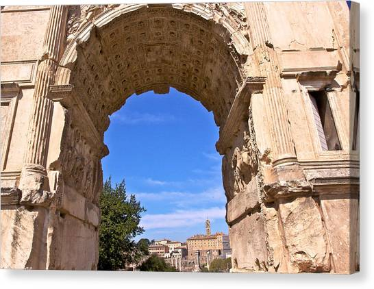 The Forum Canvas Print - Arch Of Titus by Walt  Baker