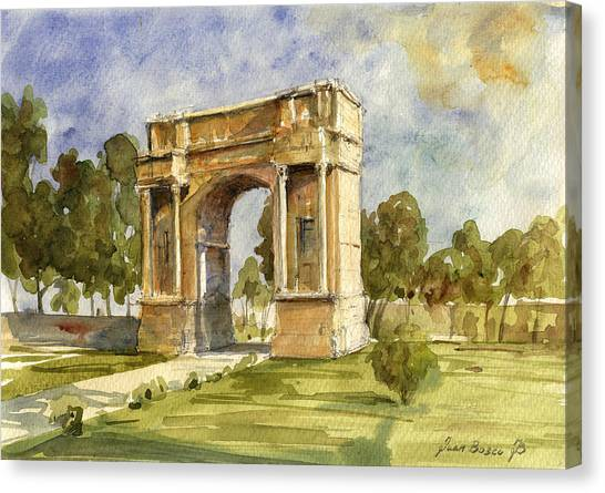 Ancient Art Canvas Print - Arch Triumphal Of Antonius Pius At Tunisia by Juan  Bosco