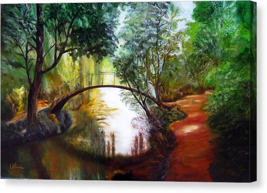 Arched Bridge Over Brilliant Waters Canvas Print