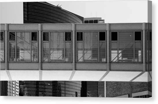 Architectural Pattern Glass Bridge Black White Canvas Print