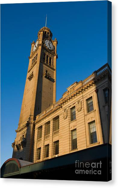 Architecture Of The Past - A Tall Station Clock Tower Canvas Print