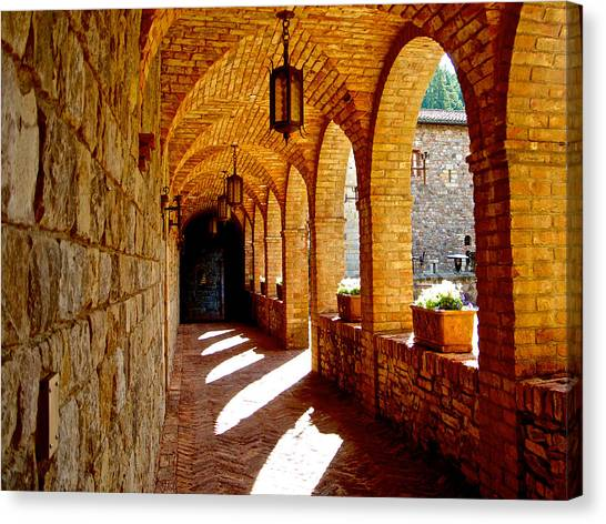 Archway By Courtyard In Castello Di Amorosa In Napa Valley-ca Canvas Print