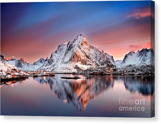 Mountain Sunrises Canvas Print - Arctic Dawn Over Reine Village by Janet Burdon