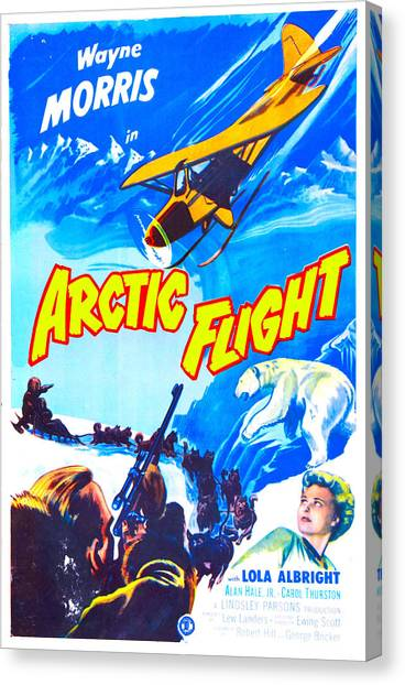 Huskie Canvas Print - Arctic Flight, Us Poster, From Left by Everett