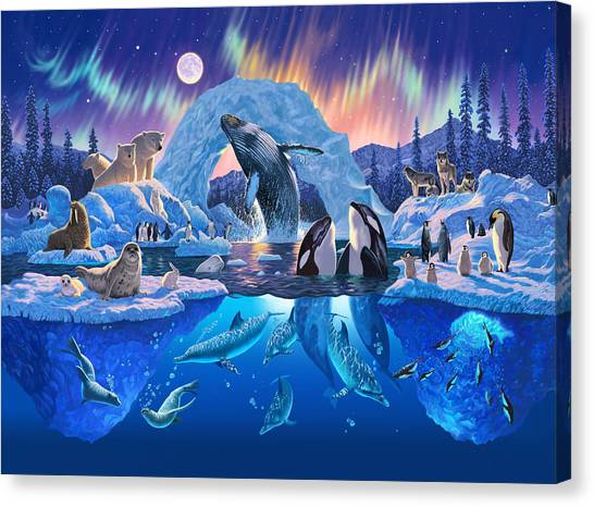 Wolf Moon Canvas Print - Arctic Harmony by Chris Heitt