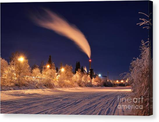 Arctic Power At Night Canvas Print