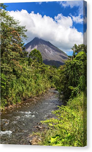 Arenal From The Rio Agua Caliente Canvas Print