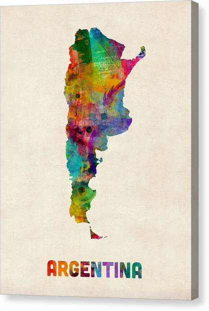 Argentinian Canvas Print - Argentina Watercolor Map by Michael Tompsett