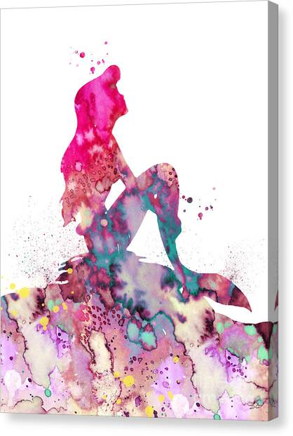 Mermaids Canvas Print - Ariel 2 by Watercolor Girl