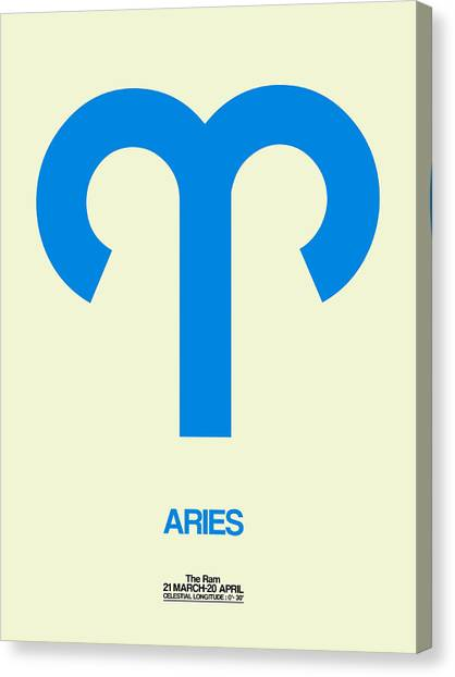 Canvas Print - Aries Zodiac Sign Blue by Naxart Studio
