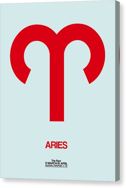 Canvas Print - Aries Zodiac Sign Red by Naxart Studio