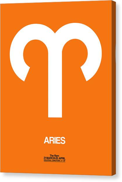 Canvas Print - Aries Zodiac Sign White On Orange by Naxart Studio