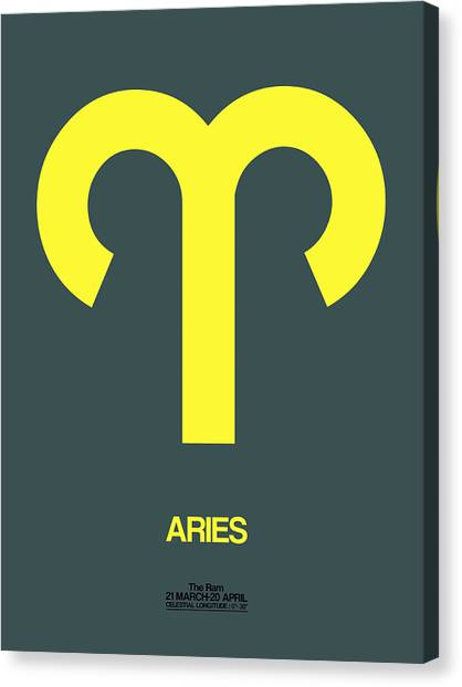Canvas Print - Aries Zodiac Sign Yellow by Naxart Studio