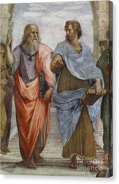 Athens Canvas Print - Aristotle And Plato Detail Of School Of Athens by Raffaello Sanzio of Urbino