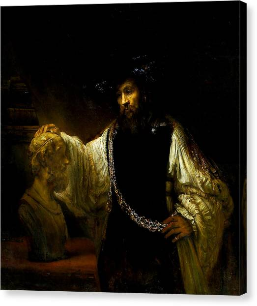 Aristotle Contemplating A Bust Of Homer Canvas Print