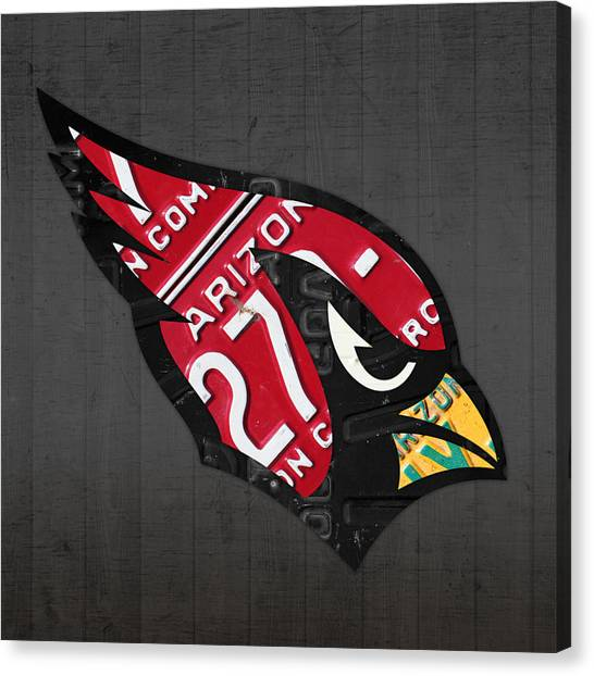 Arizona Cardinals Canvas Print - Arizona Cardinals Football Team Retro Logo License Plate Art by Design Turnpike