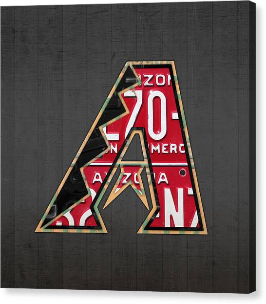 Diamondbacks Canvas Print - Arizona Diamondbacks Baseball Team Vintage Logo Recycled License Plate Art by Design Turnpike