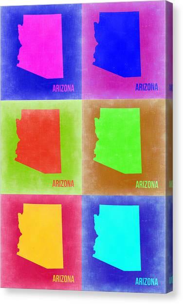 University Of Arizona Canvas Print - Arizona Pop Art Map 2 by Naxart Studio