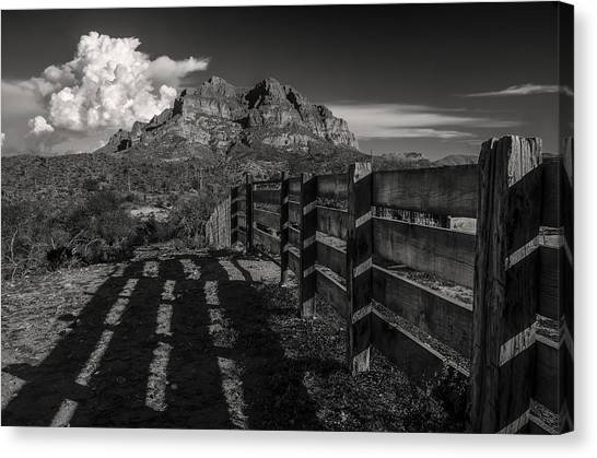Black Rock Desert Canvas Print - Arizona Ranch Fence by Dave Dilli