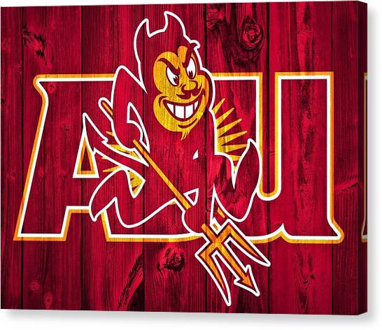 Pac 12 Canvas Print - Arizona State Sun Devils Barn Door by Dan Sproul