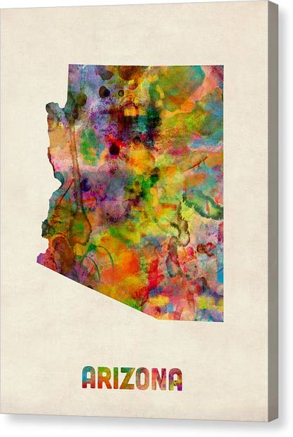 Arizona Watercolor Map Canvas Print by Michael Tompsett