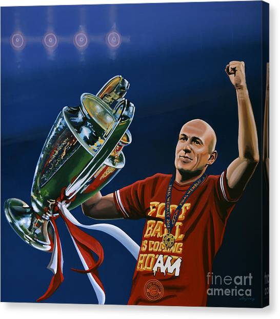 Real Madrid Canvas Print - Arjen Robben by Paul Meijering
