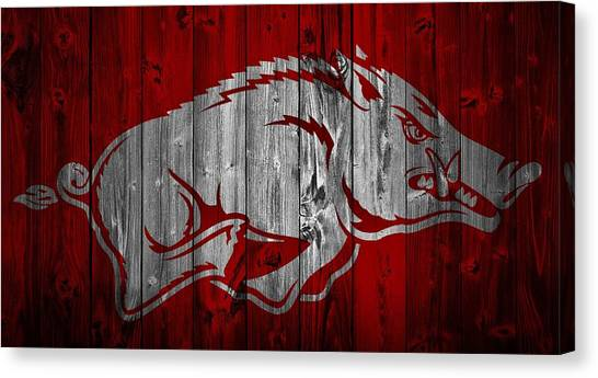 Sec Canvas Print - Arkansas Razorbacks Barn Door by Dan Sproul