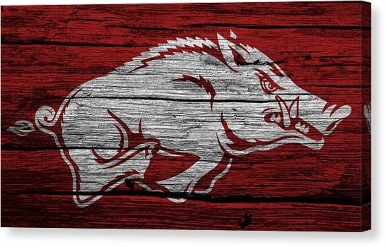 University Of Arkansas Canvas Print - Arkansas Razorbacks On Wood by Dan Sproul
