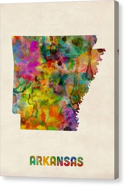 Arkansas Canvas Print - Arkansas Watercolor Map by Michael Tompsett
