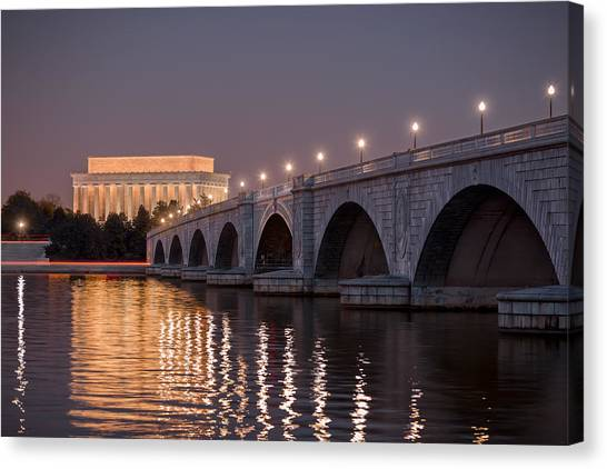 Lincoln Memorial Canvas Print - Arlington Memorial Bridge by Eduard Moldoveanu