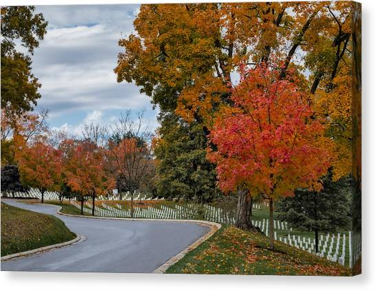 Landmarks Canvas Print - Arlington National Cemetery In Autumn by Susan Candelario